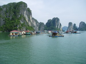Floating village in Ha Long Bay...