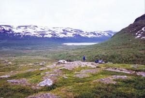 Uitzicht op het Abiskojaure 1 km voorbij de Abiskohutten...