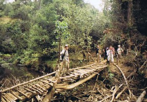 De Wandelgek wandelend bij Mount Kenya...