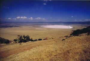 Gezicht op de mistvrije krater van Ngorongoro vanaf het Windy Gap...