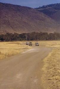 Vervoer door de krater...