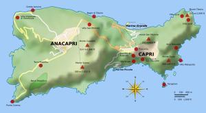 Kaart van het eiland Capri...