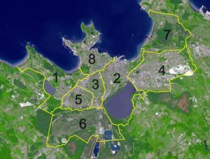 De districten van Tallinn...