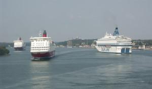 Veerboten in de haven van Mariehamn...
