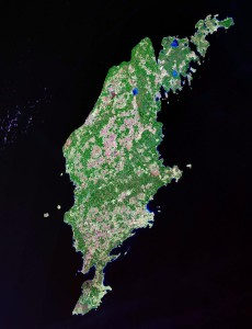 Satelietfoto van Gotland...