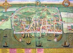 Oude kaart van de Hanzestad Visby...