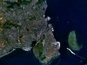 Satelietfoto van Kopenhagen...