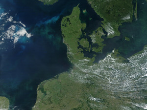Satelietfoto van Denemarken...