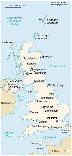 Kaart van Groot-Brittanie en Noord-Ierland...