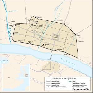 Londinium omstreeks 400 n.Chr.