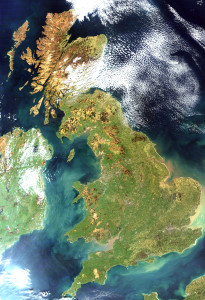 Sateliet foto van Groot Brittanie en Noord-Ierland...