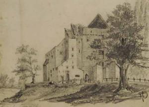Oude tekening van Slot Nijenbeek...