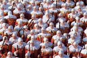 De Gilles uit Binche tijdens de carnaval...