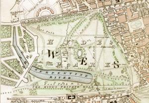 Oude kaart van Hyde Park uit 1833...