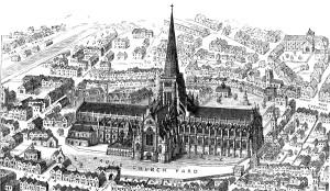 Gravure van de oude St Paul's Cathedral (voor 1561)