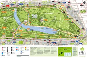 Kaart van Hyde Park en Kensington Gardens...
