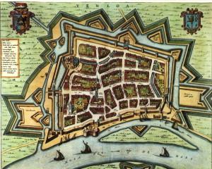 Kaart van Venlo uit 1652 van Joan Blaeu...