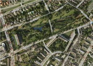 Luchtfoto van het Burgemeester Bergerpark...