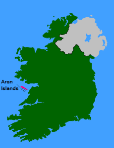 Location of the Aran islands...