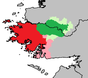 Green indicates Joyce Country, with pale green showing it at its greatest defined extent; Red indicates Connemara, with pink showing it at its greatest defined extent (not including those who consider anywhere west of the Corrib to be in Connemara)