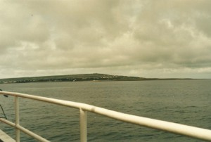 First sighting of Inishmore and the lighthouse on the highest point...