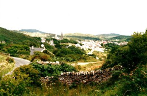 View over Clifden, the Twelve Bens and the Connemara...