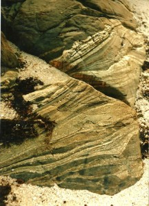 Layers are visible in these rocks...