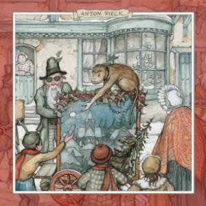Orgelman met aap; Kerstkaart door Anton Pieck...