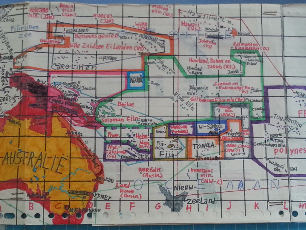 Self drawn map derived from a Pacific Ocean map from the Bos Atla...