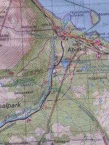 Topographical map detail with hiking trail through Lapland pencilled in later...