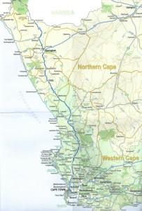 Route van Kaapstad langs de Cederbergen, door Namaqualand naar Springbok en Okiep...