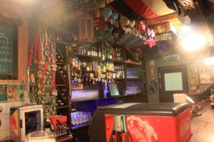 Above the bar were wires full of ladies underwear...