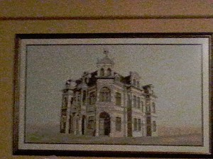 Drawings of buildings in the strange architecture of Swakopmund decorated this pub's walls...