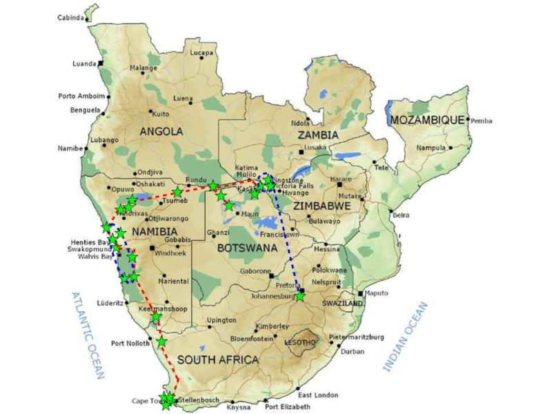 Map of Southern Africa wandelgeknl