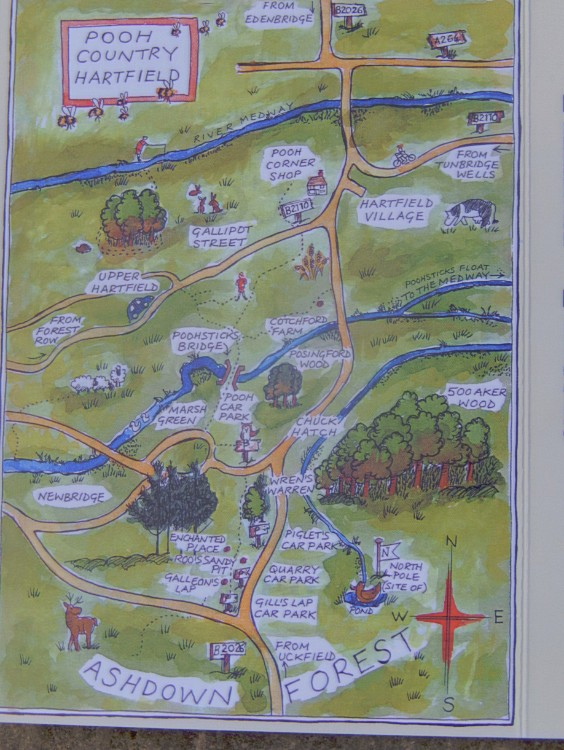 Map From Hartfield to Pooh Stcks Bridge and some other Pooh related sites...